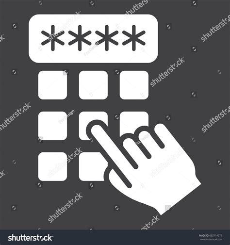 unlock pattern en francais hand finger entering pin code solid stock vector 662714275
