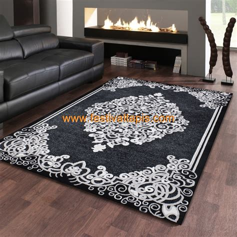 tapis baroque effet 3d motif noir gris jericho 5