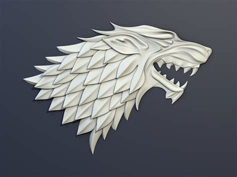 house stark 3d model game of thrones house stark heraldry vr ar low poly max obj fbx c4d