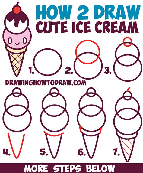 i sew cute and draw how to draw cute kawaii ice cream cone with face on it