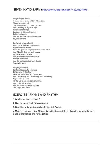 seven tattoo nation lyrics rhythm 7 nation army
