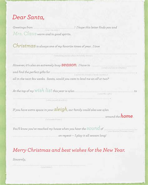 Letters To Santa Martha Stewart List Letter Template