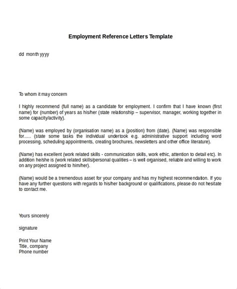 Reference Letter Template From Employment reference letters from employer letter of recommendation