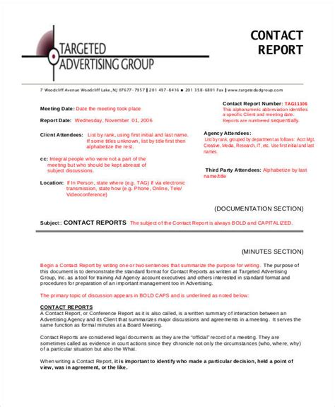 what is a report template 9 contact report templates free sle exle format