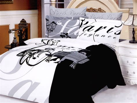 Eiffel Tower Bedding Sets Black And White Themed Bedding Themed Bedding In Black And White Eiffel Tower Bedding Set