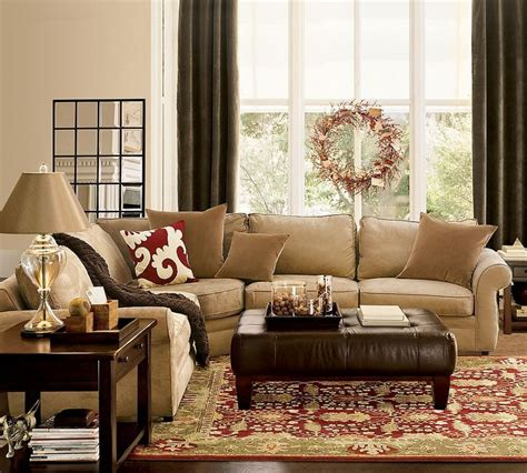 pottery barn living room colors no brown gold and curtains sofa style is though for the home