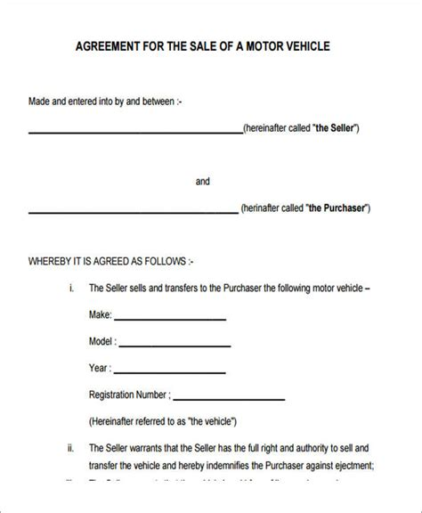 Sle Of Letter Of Agreement 7 Vehicle Sales Agreement Sles Free Sle Exle Format