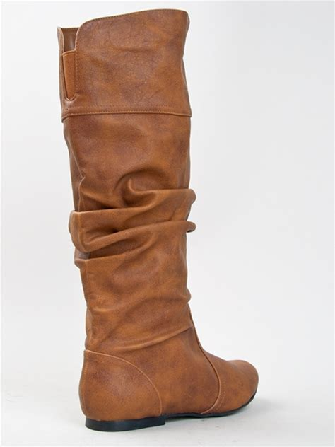 new qupid basic slouch knee high flat boot shoe