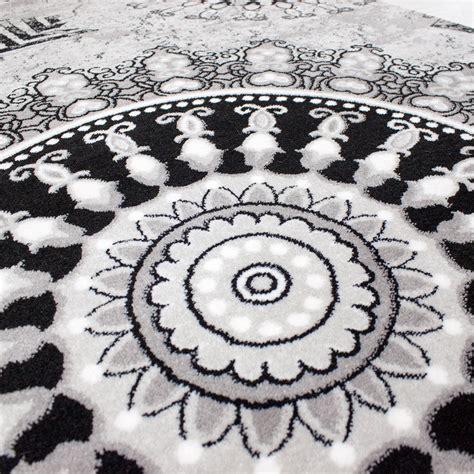teppich schwarz klassischer wohnzimmer teppich meliert ornament muster in
