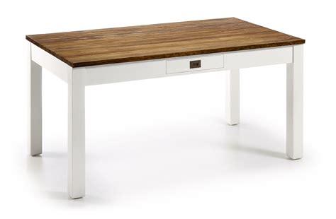 table blanc et bois table salle 224 manger en bois laqu 233 blanc et plateau en