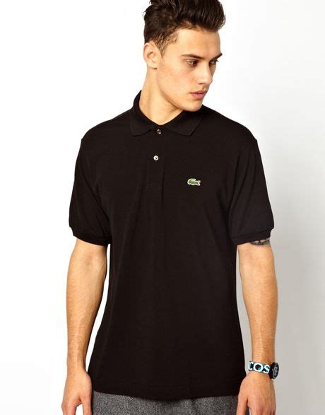 Polo Shirt Lacost Tosca List Black lacoste polo shirt with crocodile in black for lyst