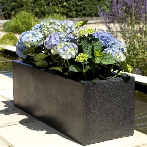 Black Garden Planters by Trough Planters Black Modern Garden Planters In Terrazzo