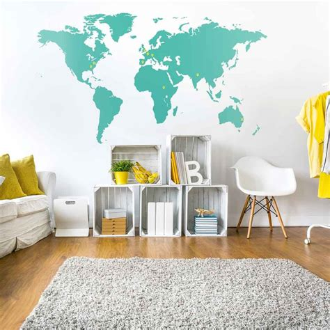 Wallsticker Map by World Map Wall Sticker Vinyl Impression