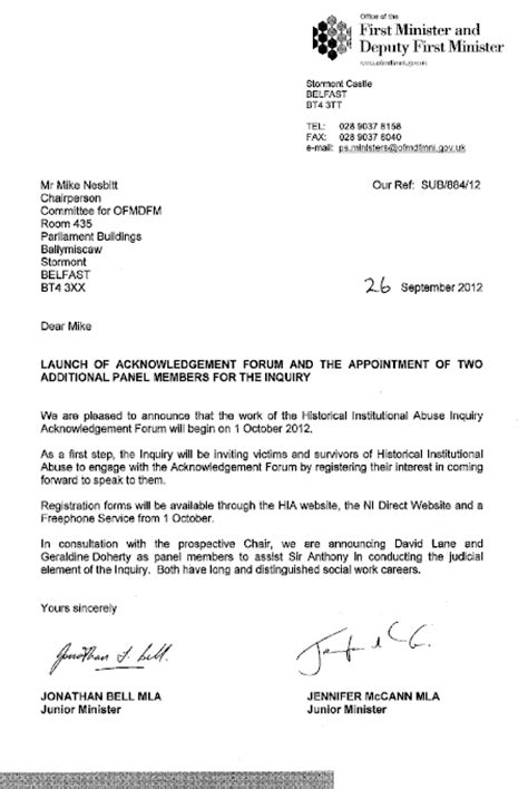 Acknowledgement Letter For Enquiry Inquiry Into Historical Institutional Abuse Bill Nia 7 11 15
