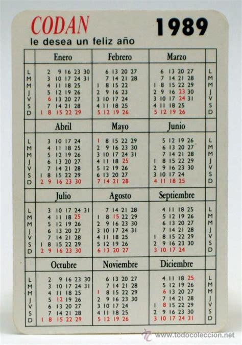 Calendario De 1989 Calendario Bolsillo 1989 Conchas Codan Producto Comprar