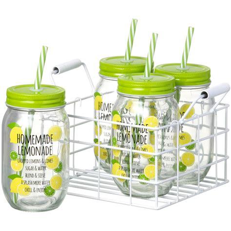 jars with straws parlane set of jars with straws lemonade set of 4 iwoot