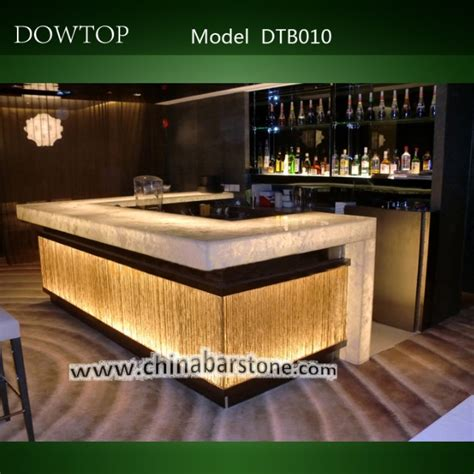 Dowtop Modern Led Lighted Small Home Bar Counter Designs Dtb010 Modern Translucent Marble Bar Counter With Led