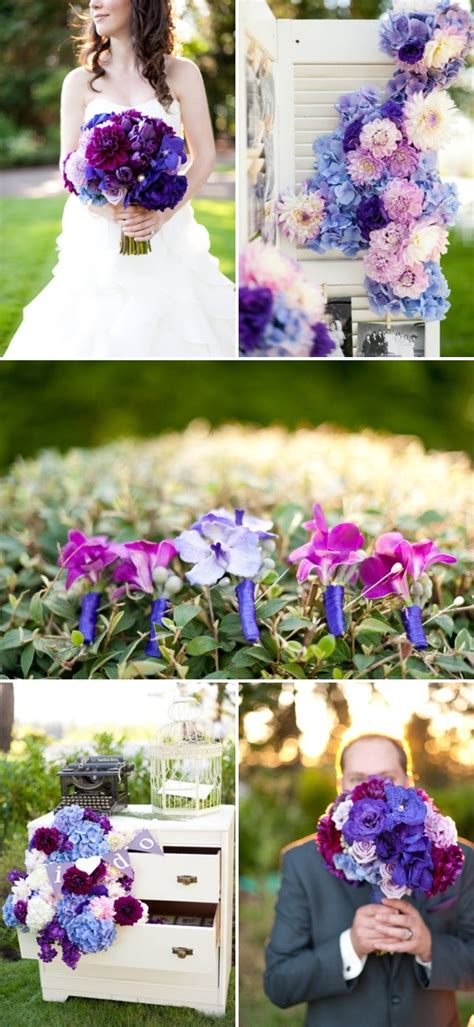 blue and purple wedding ideas purple bouquet