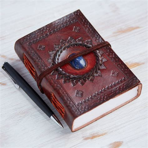 Handcrafted Journals - handcrafted indra medium stoned leather journal by paper