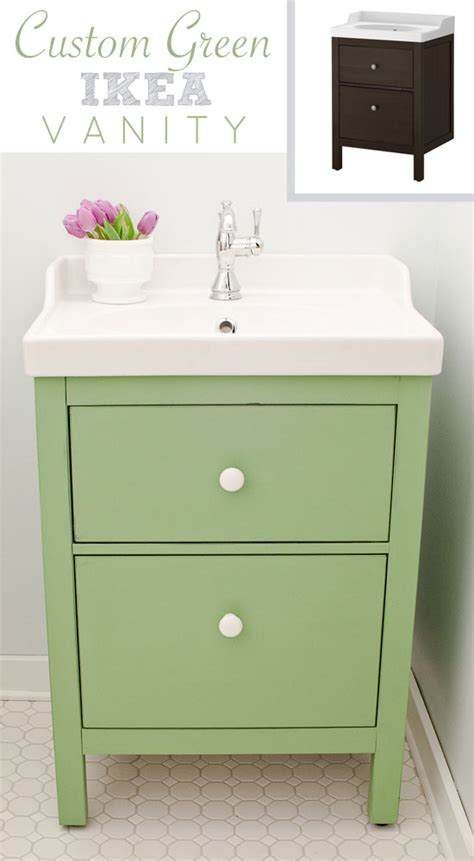 green ikea custom bathroom vanity  golden sycamore
