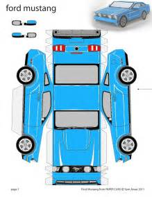 paper cars template grabber blue 2011 ford mustang paper car coupe