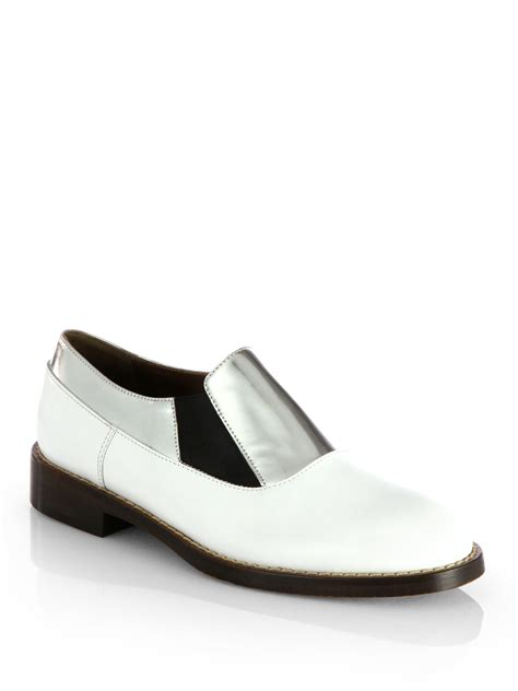 silver loafers metallic marni leather metallic leather laceless loafers in white
