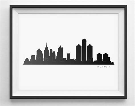 detroit skyline tattoo detroit skyline silhouette printable skyline detroit