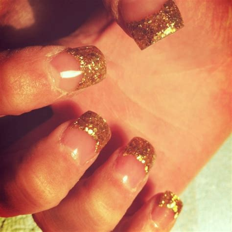 white gold with glitter tips nails gold glitter tips acrylic nails nails pinterest