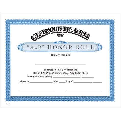 a b honor roll certificate template a b honor roll blue certificate jones school supply