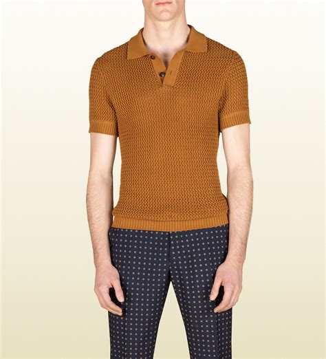 knit polo shirts lyst gucci knit polo shirt in yellow for