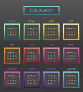 What Is The Color Of 2016 by 2016 Calendar Color Block Vector Free Vector Graphic