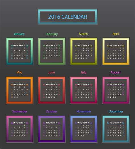 color of 2016 2016 calendar color block vector free vector graphic