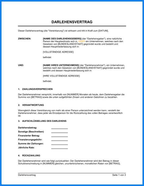 Vorlage Word Darlehensvertrag Darlehensvertrag Vorlage Invitation Templated