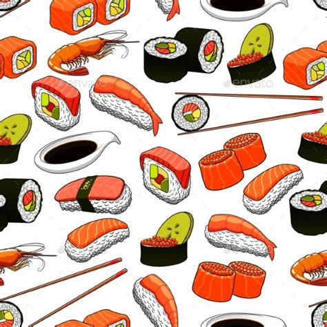 meal pattern of japanese cuisine japanese food seamless pattern background by seamartini
