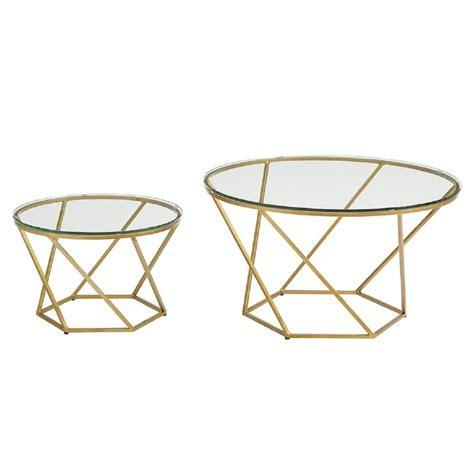 gold nesting coffee table walker edison furniture company geometric glass nesting