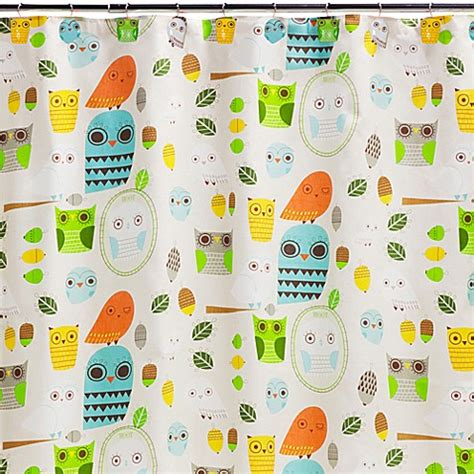 owl shower curtain kohls creative bath give a hoot cotton shower curtain bed bath