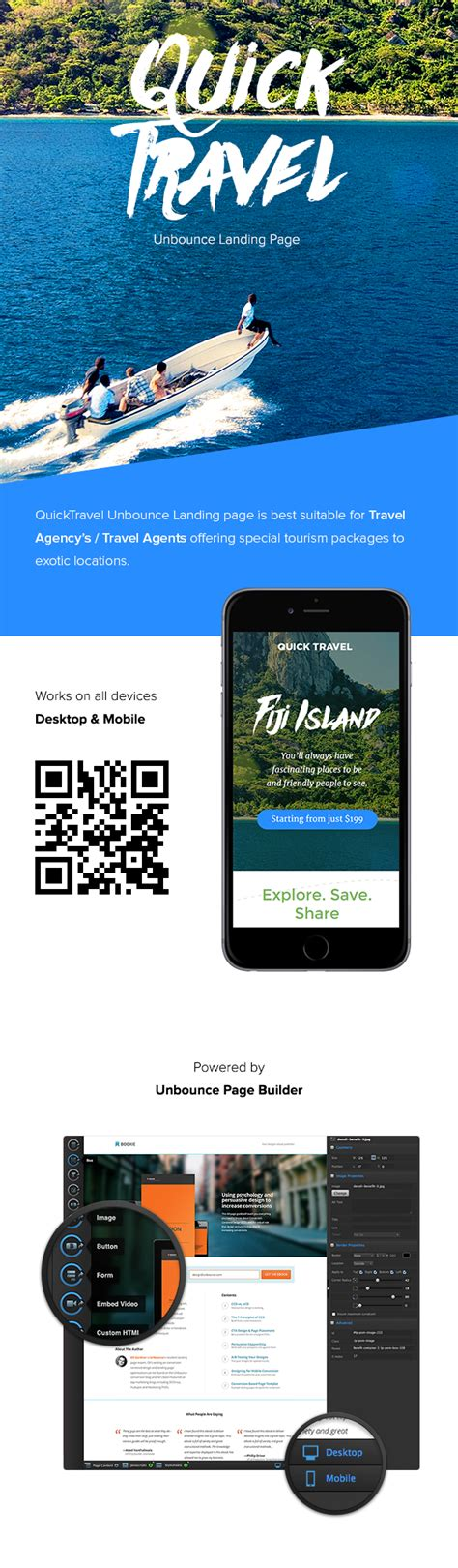 themeforest unbounce quicktravel responsive unbounce landing page marketing