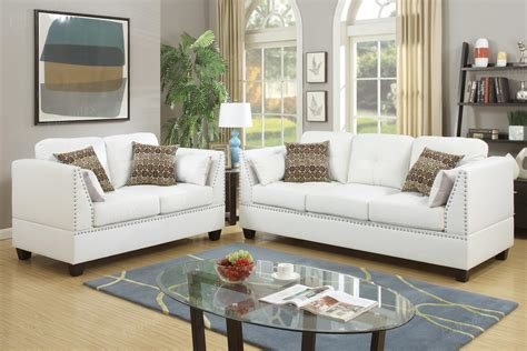 Poundex Barlo F6916 White Leather Sofa And Loveseat Set