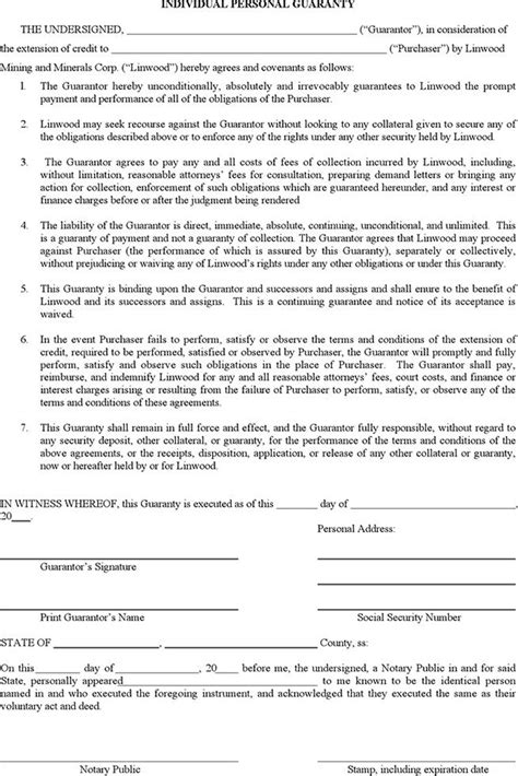 Letter Of Credit In Lieu Of Personal Guarantee individual personal guaranty 1 for free tidyform