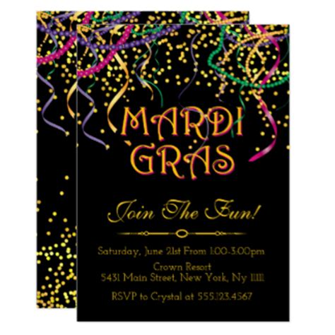 mardi gras invitations 2700 mardi gras announcements