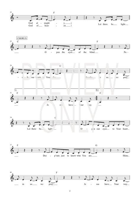 let there be light lead sheet lyrics chords hillsong