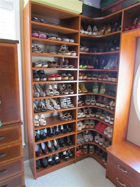 closet shoe storage solutions atlanta closet corner shoe shelves 03 traditional