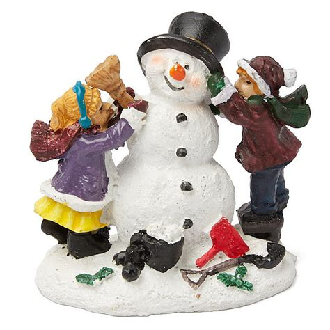 miniature snowman and kids christmas figurine christmas