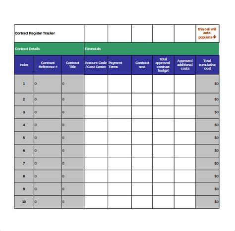 document tracker excel template contract tracking template 10 free word excel pdf