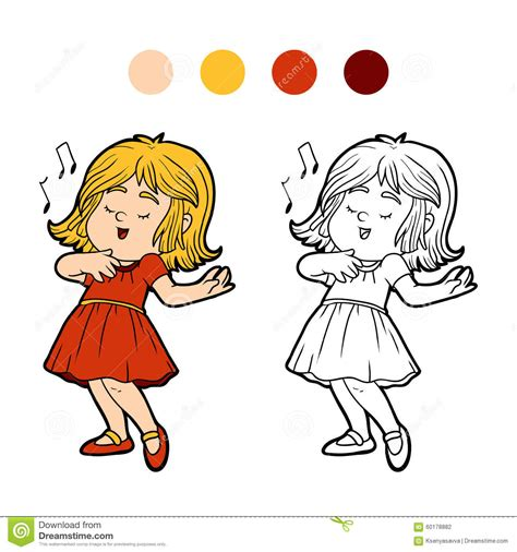little girl singing coloring page coloring book little girl in a red dress is singing a