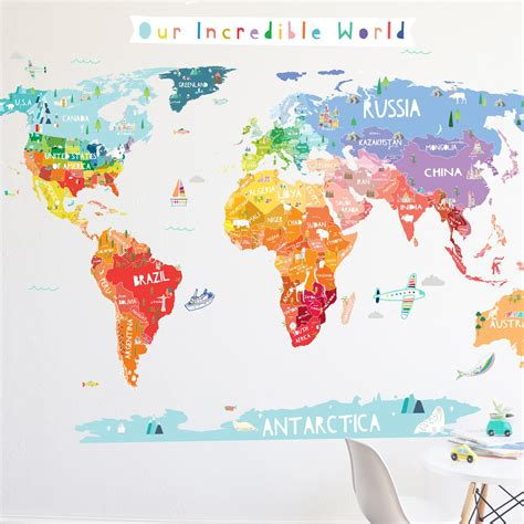map wall decal our world die cut world map wall decal with