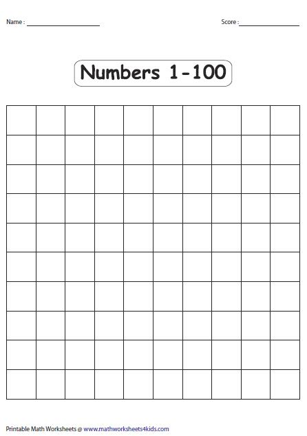 printable numbers in boxes number charts
