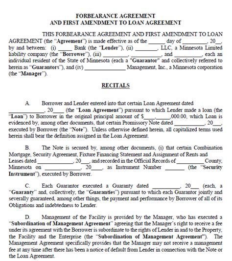 forbearance agreement template free printable minnesota forbearance agreement printable