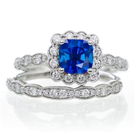2 carat princess cut sapphire and wedding ring set
