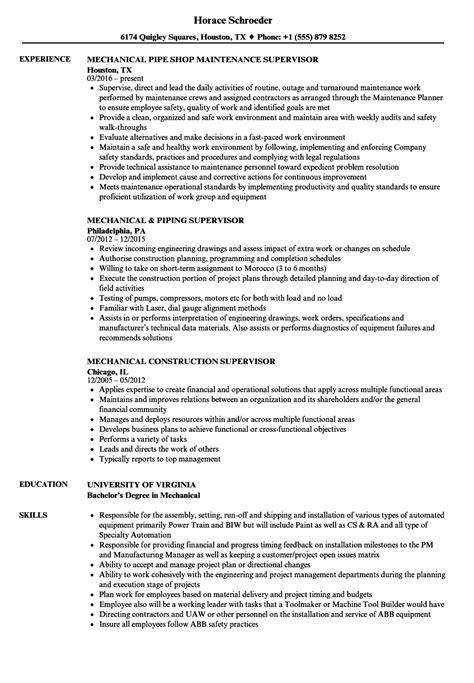 supervisor mechanical resume sles velvet